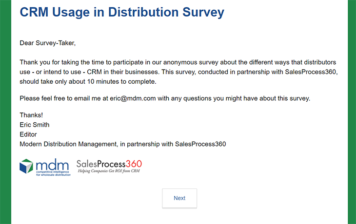Cover image CRM survey page